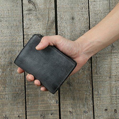 Der handgefertigte alte Männer Leder, Brieftasche, Pflanzung leder Haut, Jugend retro, vertikale Tasche Tasche, Leder Geldbörse, Bronze Gray blue