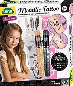 Lena 42441 - Juego de Tatuajes de Moda para modelar y adornar con 10 Plantillas y 2 lápices de Purpurina, Joyas para el Cuerpo con 16 Tatuajes metálicos para niños a Partir de 6 años