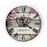 bbslt-retro estilo madera maciza pintado corona de Inglaterra reloj de pared