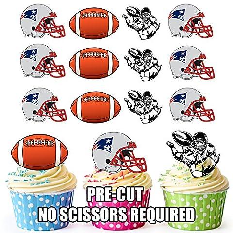 American Football NFL Cupcake Topper/Kuchen Dekorationen (Pack von 12) New