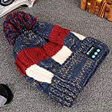 Beanie Hatswith Bluetooth Headphones,Warm Bluetooth Music Cap, Wireless Plus Fleece Knit Cap-Blue,Bluetooth Hat Wireless Knitted Beanie