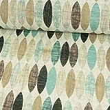Beschichteter Baumwollstoff ovales Retro Muster Mint PVC