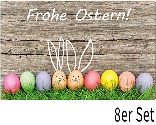 matches21 Tischset Platzset Frohe Ostern/Bunte Ostereier im Gras/Holz Motiv 8er Set Kunststoff abwaschbar 43x28 cm