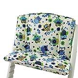 Babys-Dreams Sitzkissen Auflage Sitzkissenset für Stokke Tripp Trapp Hochstuhl (Beige Blau/Grüne Eulen$10)