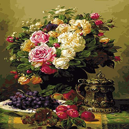 zlhcich Digitale malerei palast Blume Landschaft Wohnzimmer Dekoration malerei System q004-13 mit Rahmen 50 cm * 60 cm