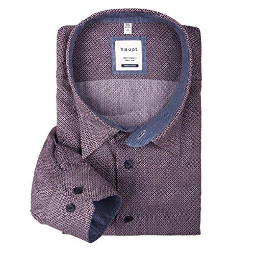 Haupt XXL Langarmhemd gemustert bordeaux-blau-weiß Mehrfarbig