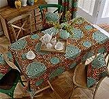 HXC Home turquoise orange circle Nappes Chemins de table coton Linge table à manger décoration jardin rectangulaire carré moderne minimaliste
