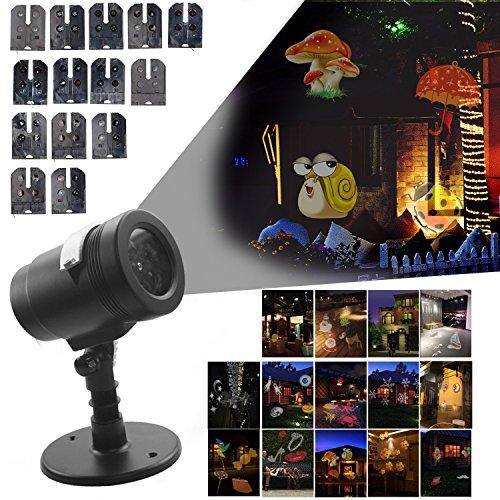 tsfest LED Projektor Licht, mit 14 austauschbaren Dias / Muster, Wasserdichte Landschaft im Freien / Indoor-Scheinwerfer für Halloween-Weihnachtsgeburtstags-Hochzeits-Party-Hauptdekoration (Halloween-scheinwerfer)