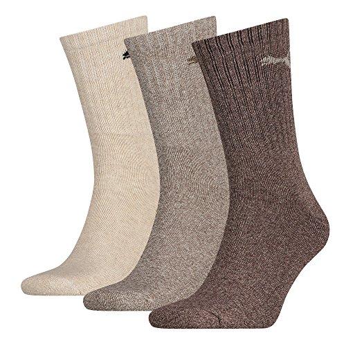 6 Paar PUMA Unisex Crew Socks Socken Sportsocken MIT FROTTEESOHLE für Damen und Herren (Chocolate, 43-46)