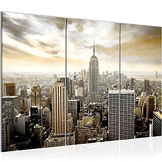 Runa Art Bilder New York City Wandbild 120 x 80 cm Vlies - Leinwand Bild XXL Format Wandbilder Wohnzimmer Wohnung Deko Kunstdrucke Braun 3 Teilig - Made IN Germany - Fertig zum Aufhängen 603431a