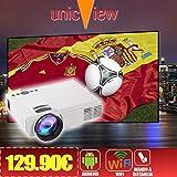 Projektor Billig unicview SG150weiß mit Android, WLAN, USB, HDMI, VGA, AC3, TF Karte, 2Jahre Garantie