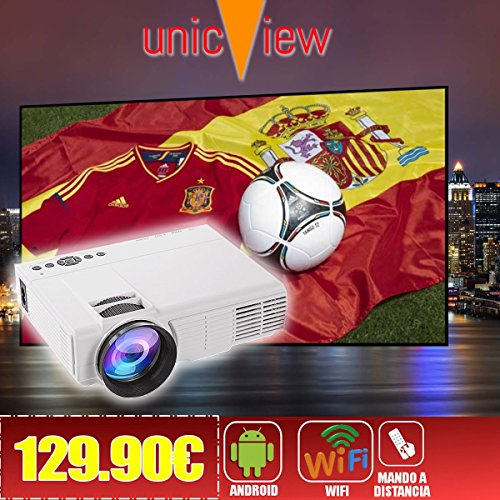 Proyector Barato Unicview SG150 Blanco con ANDROID, WIFI, USB, HDMI, VGA, AC3,...