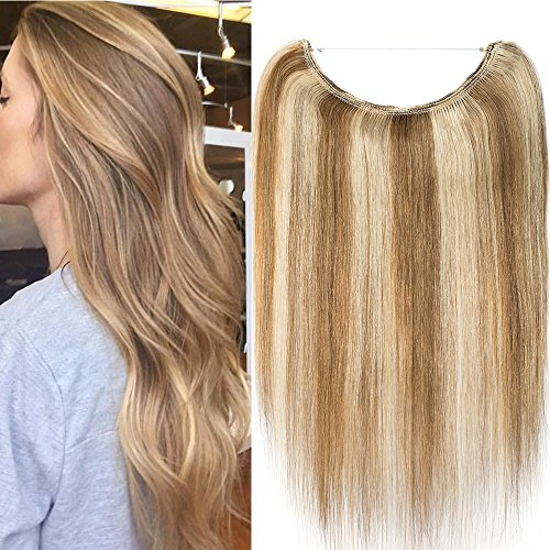 One piece extension capelli veri con filo trasparente wire in 100% remy human hair lisci lunga 40cm pesa 60g, #12/613 marrone chiaro/bleach blonde