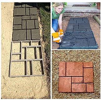 zjchao DIY Pathmate Personalizada Piedra de pavimentación del Molde Cuadrado de jardín al Aire Libre decoración de pasillos de Cemento Molde 50 * 50cm Color Negro