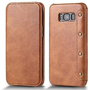 pucon: QIHANG Funda Samsung Galaxy S8 Plus, Carcasa Delgada de Piel PUcon Cuero PU de L...