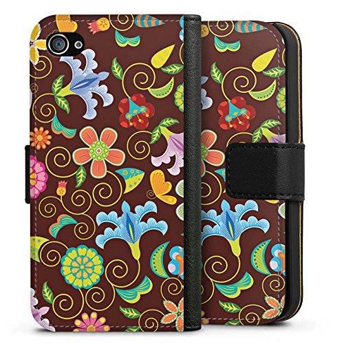 Apple iPhone X Silikon Hülle Case Schutzhülle Retro Bunt Blumen Sideflip Tasche schwarz