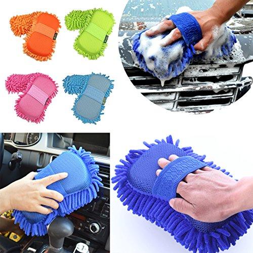 Miaoo - Spugna in ciniglia di microfibra, indossabile come un guanto per il lavaggio e la pulizia della macchina, colore casuale