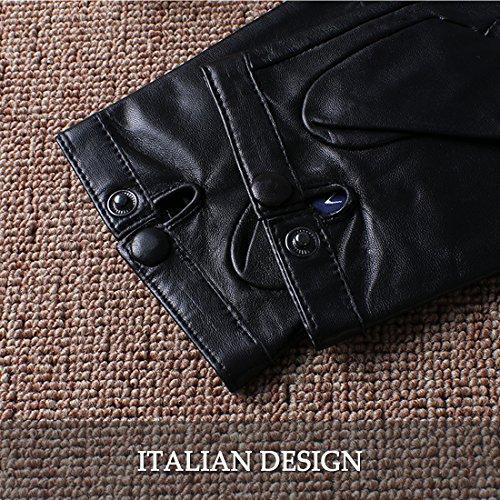 les doigts de gants importés nappaglo classique de doublure en soie à moitié doigt de peaux d'conduite cyclisme outdoor gants Black