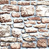 Klebefolie - Möbelfolie Design Naturstein - Mauer - 45 cm x 200 cm Selbstklebefolie mit Stein Motiv Elementen - dekorative selbstklebende Folie