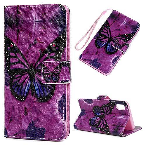 Schutzhülle Kompatibel für iPhone XS Max Handyhülle, Klapp PU Leder Brieftasche Case, Ständer Magnetverschluss Funktion Stoßfest Kratzfest Anti Rutsch Fingerabdruck, Großer Schmetterling