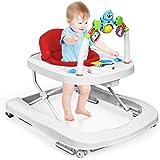 GOPLUS Girello per Bambini Primi Passi Regolazione in Altezza con Vassoio con Giocattolo Educativo 75x60x66CM (Rosso)