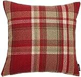 McAlister Textiles Signature Kollektion | Heritage Zierkissen im Tartan-Muster Kariert mit Füllung | 40cm x 40cm in Rot | Deko Kissen für Sofa, Bett, Couch Pflegeleichtes Wolle-Gefühl