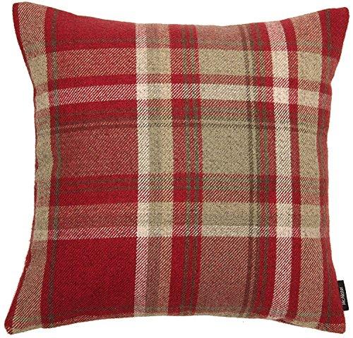 Baumwolle Traditionellen Stuhl (Deko Kissenbezug für Zierkissen, Kissenhülle im Harris Tweed Tartan-Muster, kariert, Schottenmuster, in Rot, Shabby Chic, dicke Kunstwolle im Country-Style. Aus der Heritage-Kollektion von McAlister Textilien, 60cm x 60cm)
