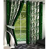 Home Pictures (Set of 4) Suprimo Kolaveri Polyester Curtains (Window-4ft X 5ft) Green