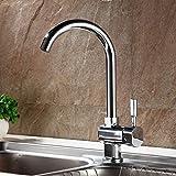 Auralum® Chrom Mischbatterie Küchenarmatur Wasserhahn Armatur Waschbecken Spüle Wasserfall für Küche Type A