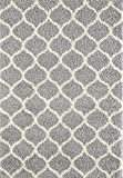 A2Z RUG Cozy Super Trellis Shaggy Rugs Silver & Ivory 120x170 cm - 3'9''x5'5'' ft Contemporary Living Dinning Room & Bedroom Soft Area Rug