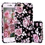 ZXK CO iPhone 7 Plus Hülle, Weich TPU Silikon Case Schutzhülle 3D Vintage Blumen Muster für iPhone 7 Plus 5,5 Zoll - Rose