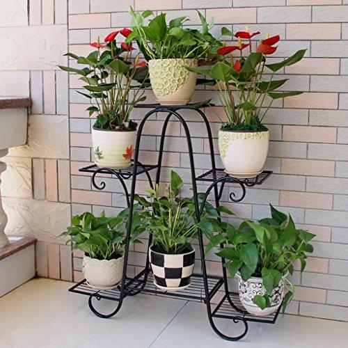 Stand De Fleurs Six couches de supports à fleurs fer à plusieurs étages fleur supports vert radix laqué balcon fleur supports (Couleur : #3)