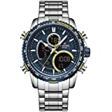 NAVIFORCE Reloj Digital Analógico para Hombre Cronógrafo Relojes Deportivos de Cuarzo a Prueba de Agua Moda de Negocios Reloj