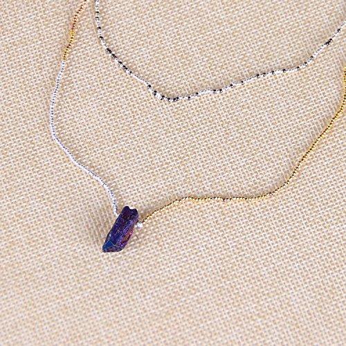 KELITCH Perles de Rocaille Chaîne Collier avec Naturel Cristal Rugueux Pierre Pendentif Marron