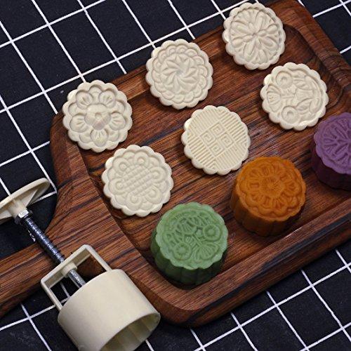 LOUTY 75g 6 stücke Plätzchen Briefmarken Mond Kuchenform Set, DIY Cookie Presse Mitte Herbst Festival Decor Kuchen Cutter Form (Cookie-presse)
