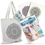 3DIY Mia Mandala Coloring Book For Adults, Have Fun And Get Creative, Good For Stress Relief, Comes As A Set With A Beautiful Reusable Eco Friendly Matching Cotton Tote Bag