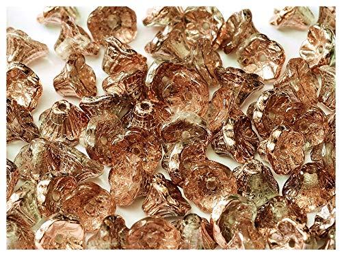 50 Stück Flower Cup Bead - Tschechische Glasperlen in Form von Glocken-Caps 7x5mm, Crystal Capri Gold (Apollo Gold) Apollo Cup