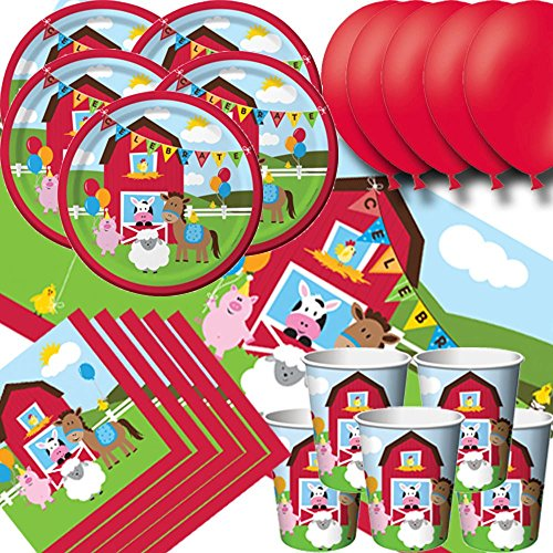 Farmhouse Fun Party Pack for 16 - Plates, Cups, Napkins, Balloons and Tablecovers