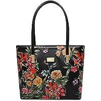 KLEIO Floral Printed Zipper Tote Shoulder Handbag For Women/Ladies