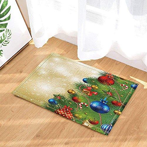 (BuEnn Felice Neugeborene Weihnachtsbaum, komplett mit roten Bällen, Rutschhemmende Badematte für Kinderzimmer, Vorne für Kinder 15,7 x 23.6in Badaccessoires)