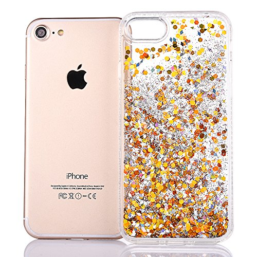 "Coque pour Apple iPhone 6/6s 4.7"", CLTPY 3D Transparent Housse dans Hard PC + Soft TPU Dual Layer Plastic en Liquide Bling Flash Etui Plastic Protection Cristal Case Stars Glitter Sparkles se écoulant Gold"