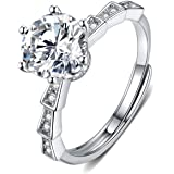 Moissanite Engagement Ring 2CT 18K White Gold Plated Silver 6-Prong D Color Ideal Cut Diamond Wedding Ring for Women with Cer