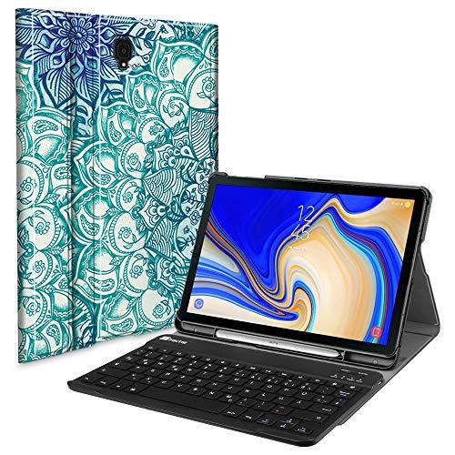 Fintie Tastatur Hülle für Samsung Galaxy Tab S4 T830 / T835 (10.5 Zoll) 2018 Tablet-PC - Ultradünn Schutzhülle mit magnetisch Abnehmbarer drahtloser Deutscher Bluetooth Tastatur, smaragdblau - Galaxy Tablet Samsung S4 Deckt
