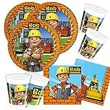 52-teiliges Party-Set Bob der Baumeister - Teller Becher Servietten für 16 Kinder