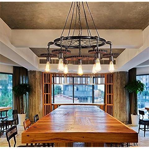 Creativa de engranajes loft de araña tema restaurante Cafe Bar personalidad industria eólica americana retro araña de hierro ( Tamaño : 7