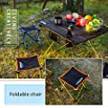 Overmont Aluminum portable ultralight folding folding stool chair for camping camping fishing hiking picnic beach barbecue travel hunting golf and outdoor activities blue / gray / orange up to 110KG by Overmont