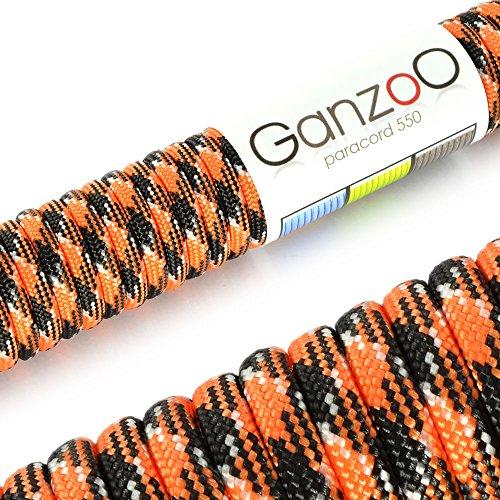 Paracord 550 Seil Orange   Schwarz   Weiß   31 Meter Nylon-Seil mit 7 Kern-Stränge   für Armband   Knüpfen von Hunde-Leine oder Hunde-Halsband zum selber machen   Seil mit 4mm Stärke   Mehrzweck-Seil   Survival-Seil   Parachute Cord belastbar bis 250kg (550lbs) - Marke Ganzoo -