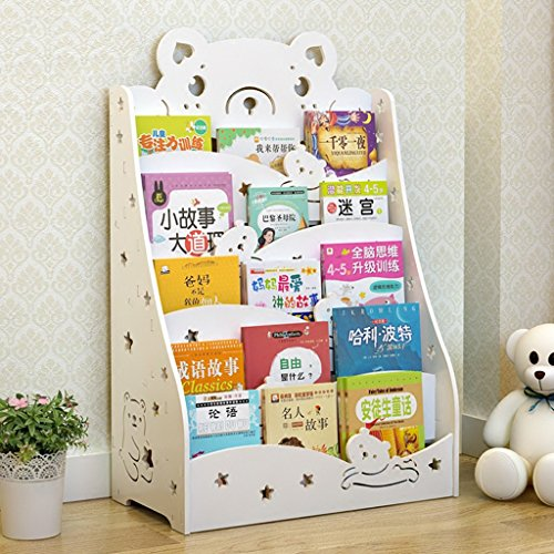 Shelf Hölzerne weiße und grüne rosa Kinder Bücherregal einfache Kombination Baby Bücherregal Kindergarten Cartoon Bücher Display stehen (Color : White)