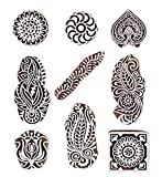 #9: Hashcart Printing Stamps Mughal Design Wooden Blocks (Set of 9) Hand-Carved for Saree Border Making Pottery Crafts Textile Printing
