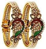 #5: Zeneme Dancing Peacock Antique Gold Plated Bangle set for women